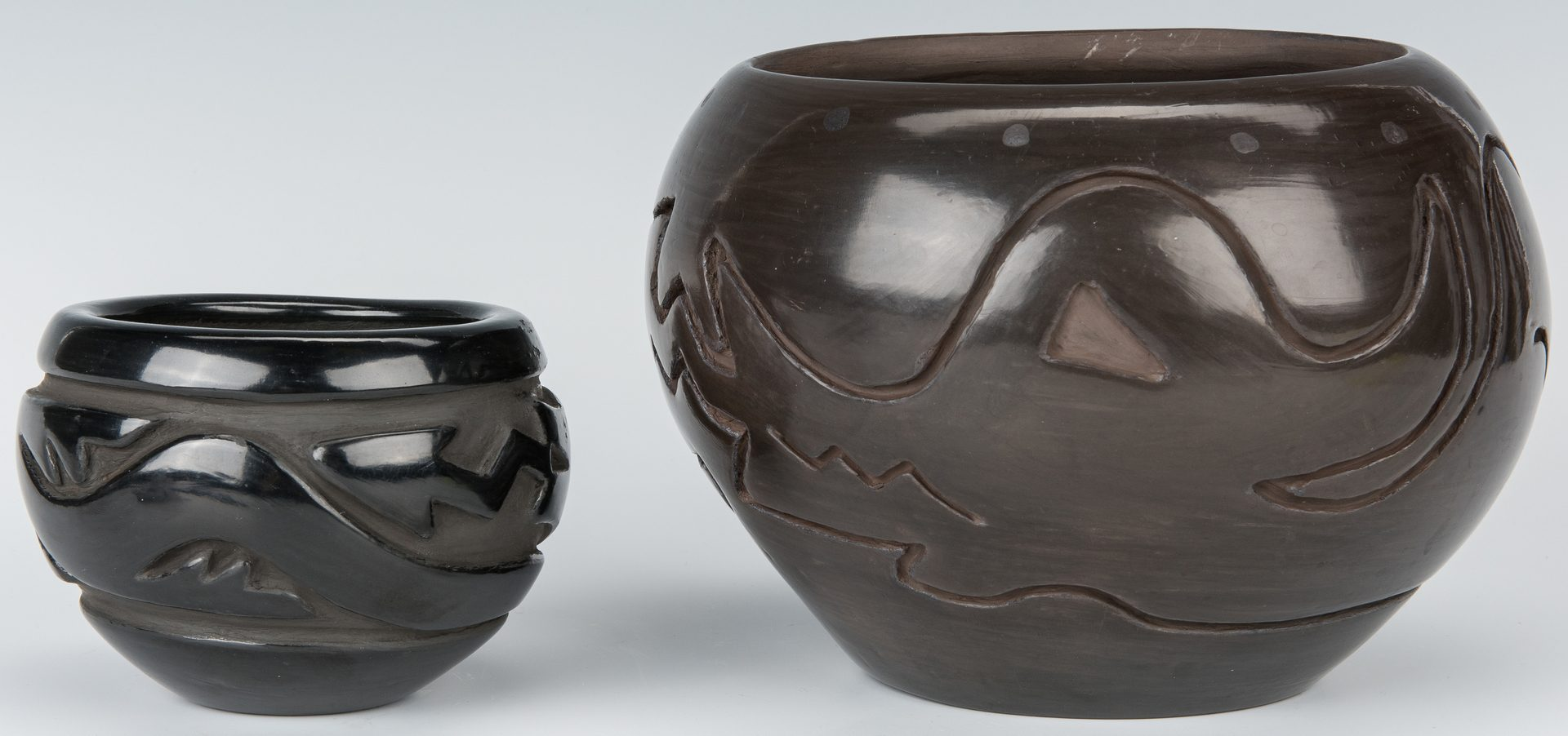 Lot 303: 2 Santa Clara jars, inc. Elizabeth Naranjo Blackware jar