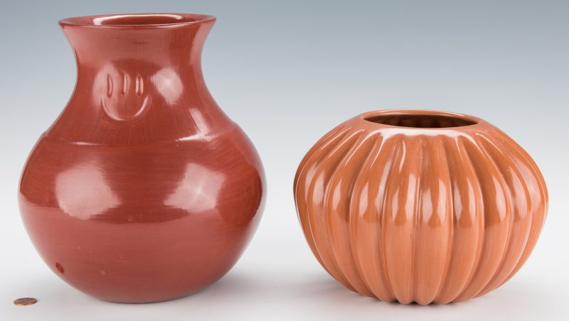 Lot 305: 2 Santa Clara Pottery Jars: Garcia and Komalestewa