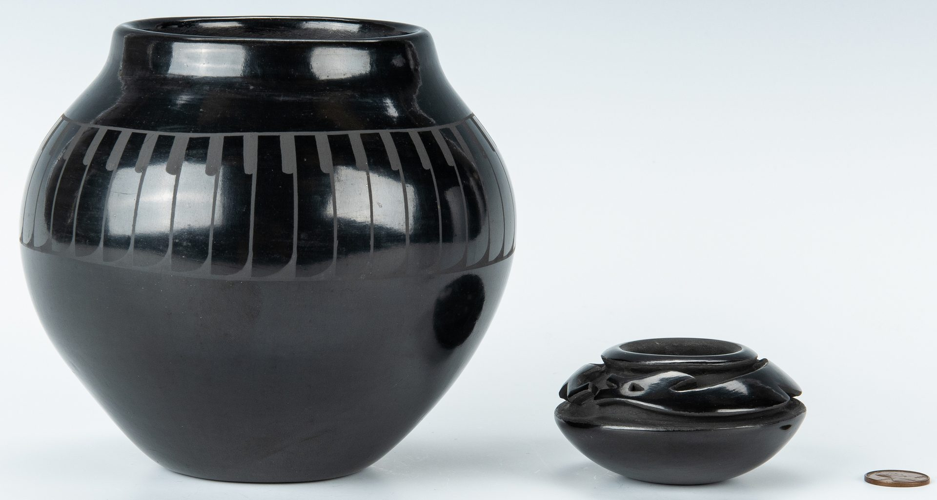 Lot 307: 2 Blackware Jars, inc. Tafoya