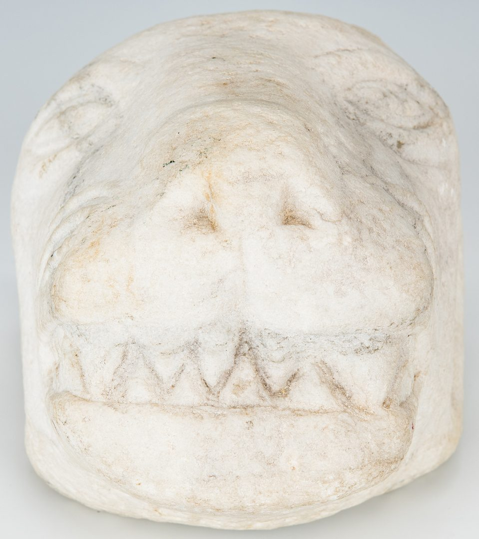 Lot 312: Tim Lewis Limestone Lion Head Carving