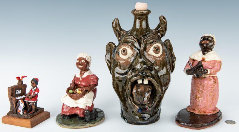 Lot 313: 4 Ceramic Folk Art Items, inc. figures