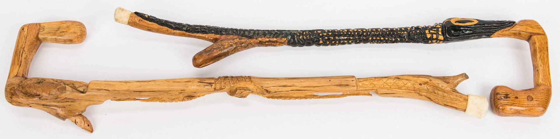 Lot 315: Six Folk Art Carved Walking Sticks, inc. Hargis