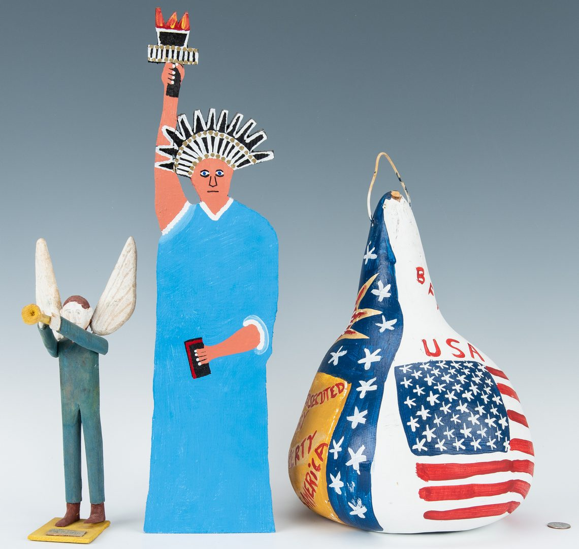 Lot 316: 3 Folk Art items, Perkins, Jennings & Webster