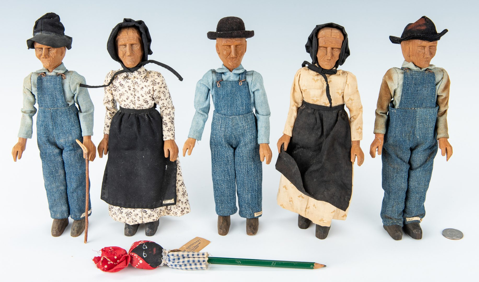 Lot 318: 6 Southern Folk Art Dolls: TN Polly Page and Acadian