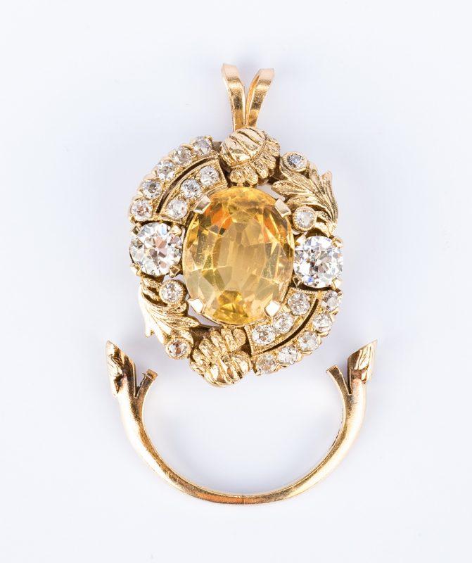 Lot 31: 14K Diamond & Yellow Topaz Pendant
