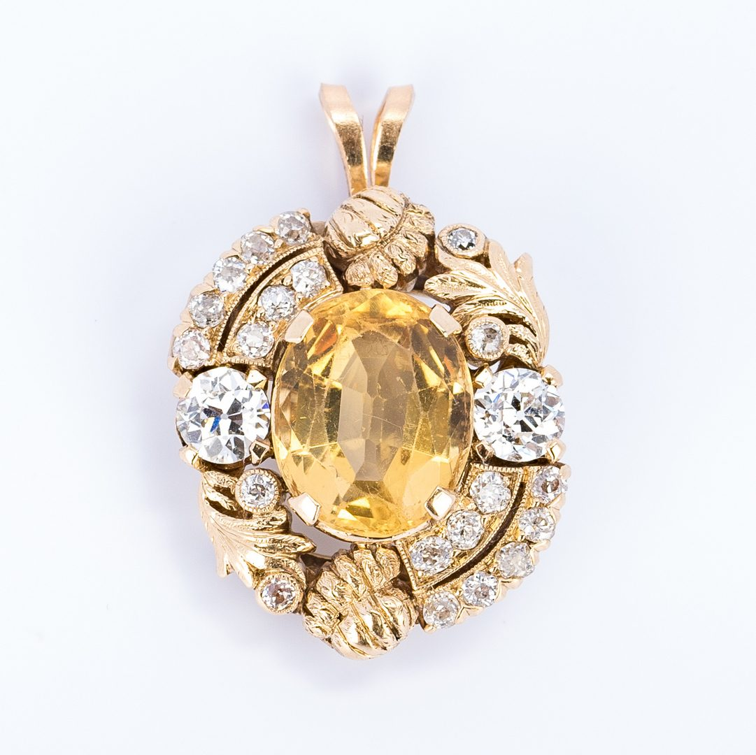 Lot 31: 14K Diamond & Yellow Topaz Pendant