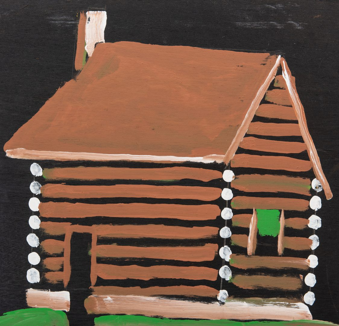 Lot 320: Jimmy Lee Sudduth Painting of a Log Cabin