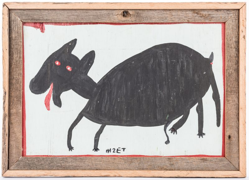 Lot 321: Mose Tolliver Folk Art Dog Painting