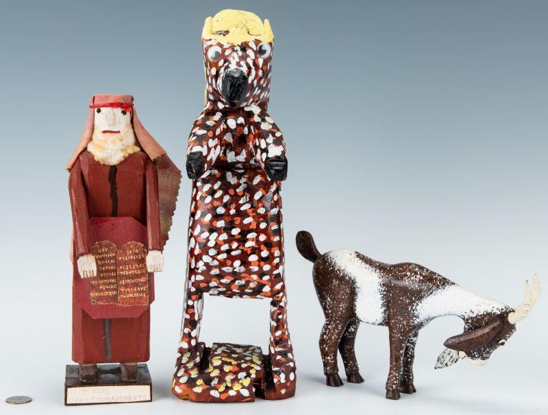 Lot 326: 3 Folk Art Items, Money, Homer Green & Braxton Ponder