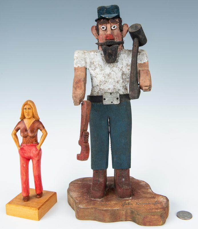 Lot 327: 2 Folk Art Carvings, inc. Ivester & Krauss