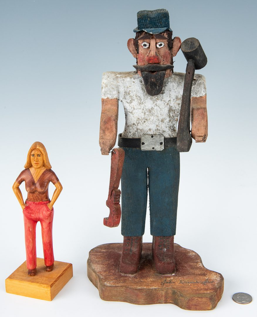 Lot 327: 2 Folk Art Carvings, inc. Ivester & Krauss