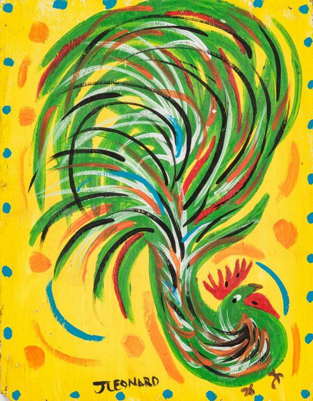 Lot 328: Juanita Leonard Folk Art Chicken Painting