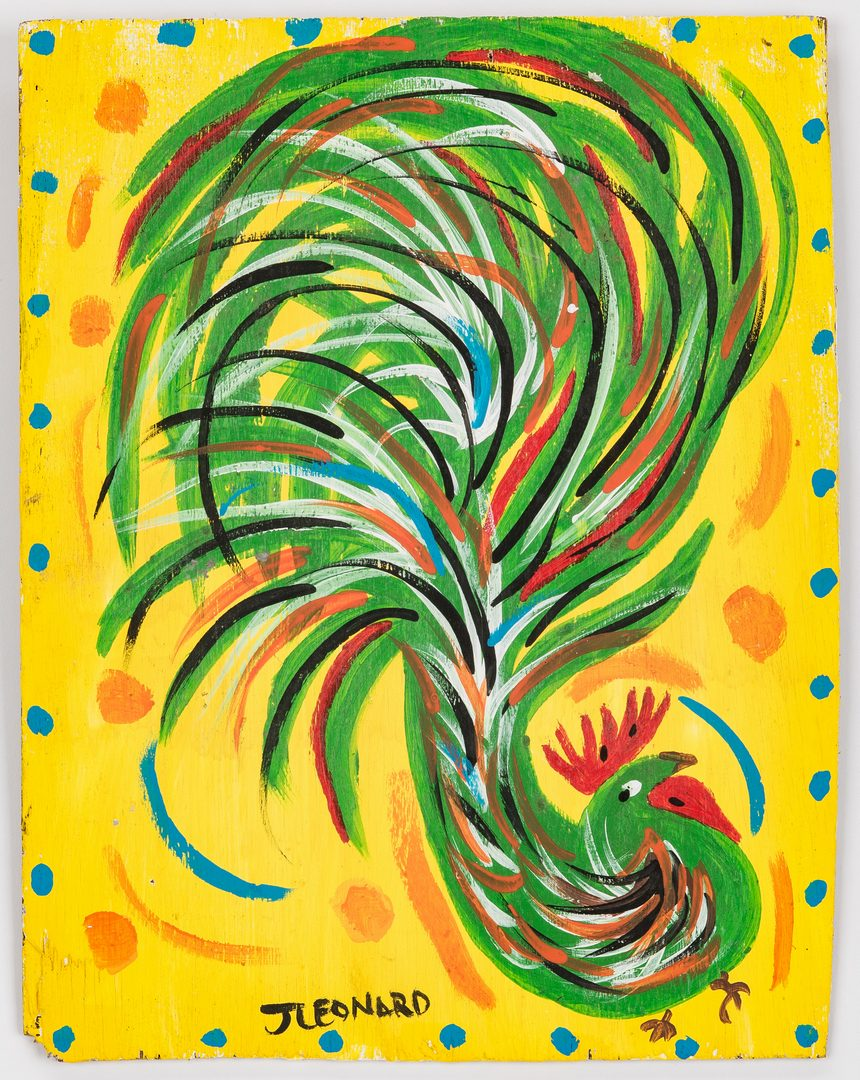 Lot 328: Juanita Leonard Folk Art Chicken Painting