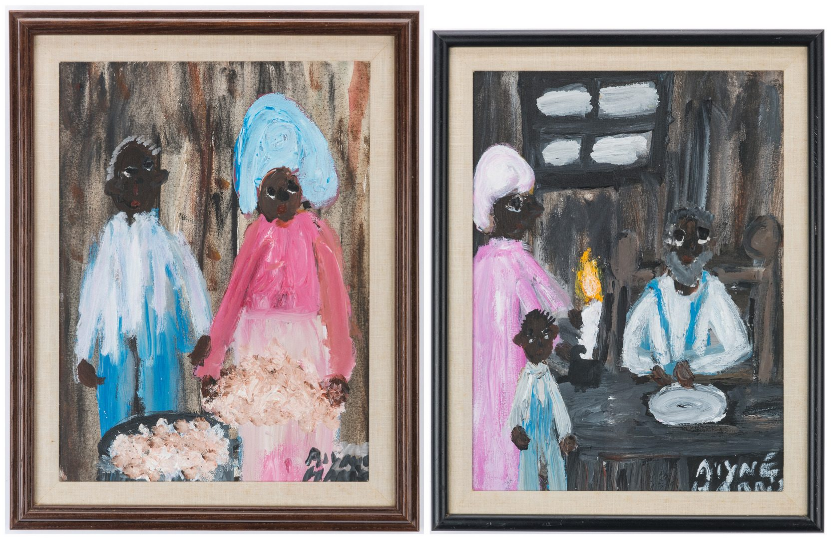 Lot 329: 2 Alyne Harris Folk Art Paintings