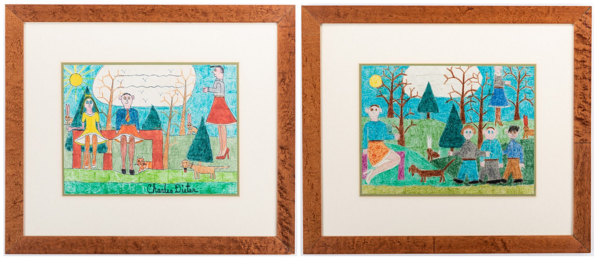 Lot 331: 2 Charles Dieter Folk Art Paintings on Paper