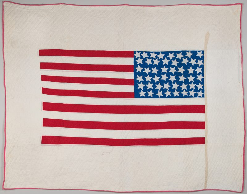 Lot 337: Patriotic 48 Star Flag Quilt