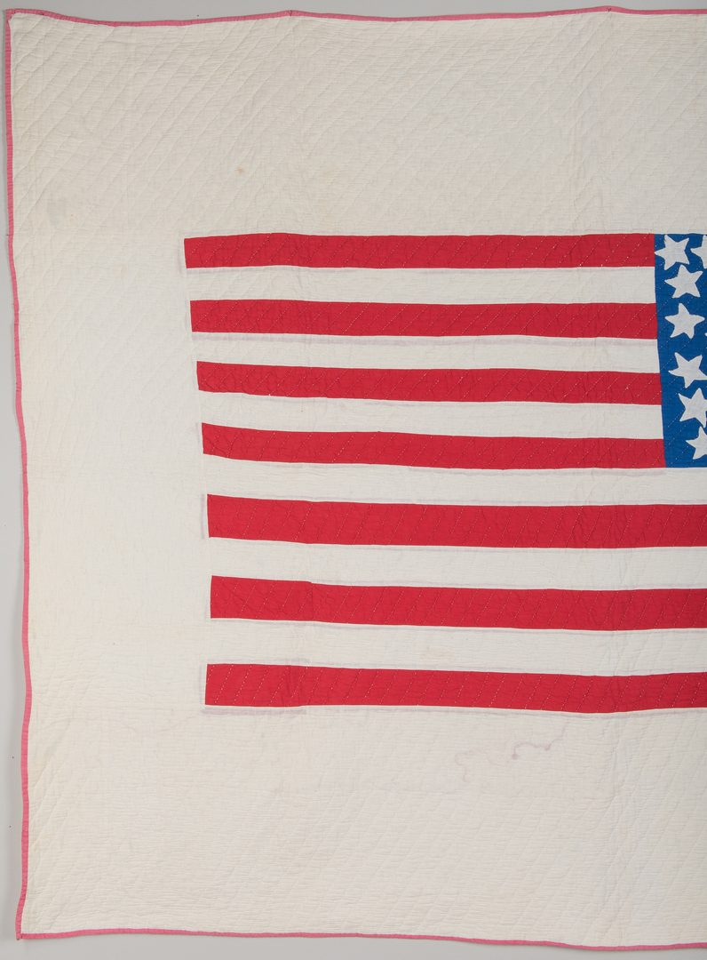 Lot 337: Patriotic 48 Star Flag Quilt