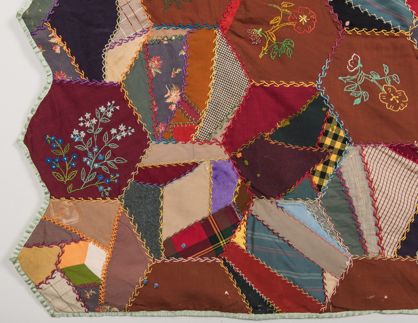 Lot 339: Pair Crazy Quilts, Early 20th C