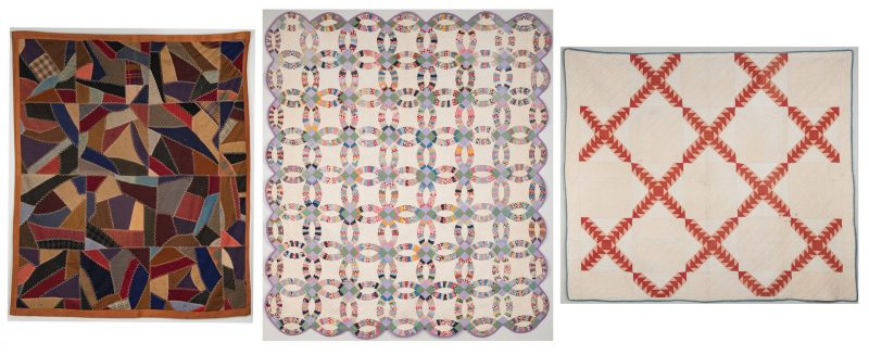 Lot 340: 3 American Quilts, Early 20th C. including Crazy Quilt
