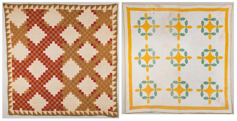 Lot 341: 2 American Quilts, Oak Leaf and Log Cabin