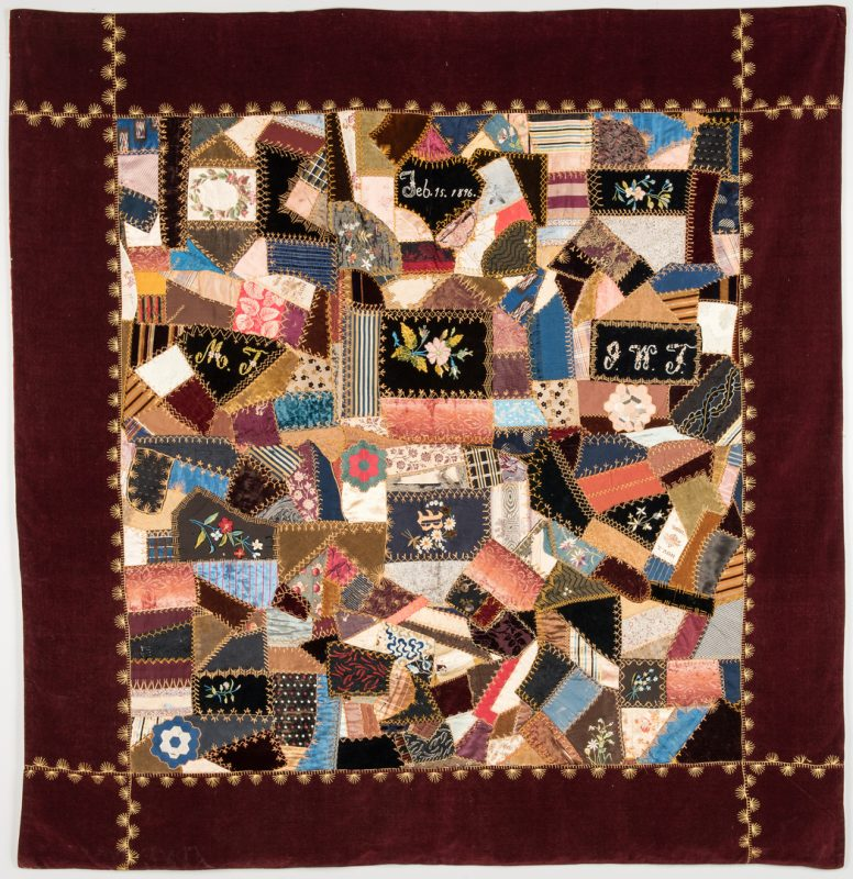Lot 342: Signed and Dated Crazy Quilt