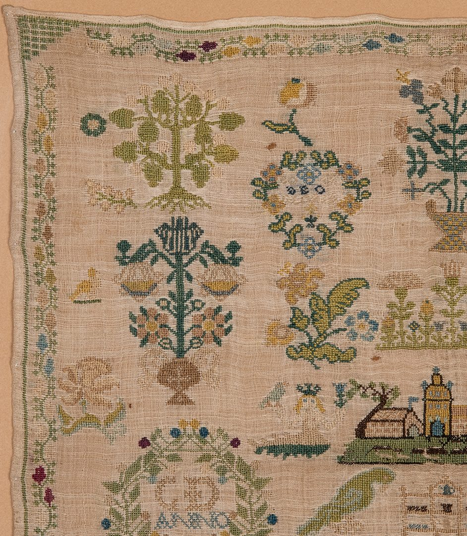Lot 344: 1744 Needlework sampler with Adam and Eve