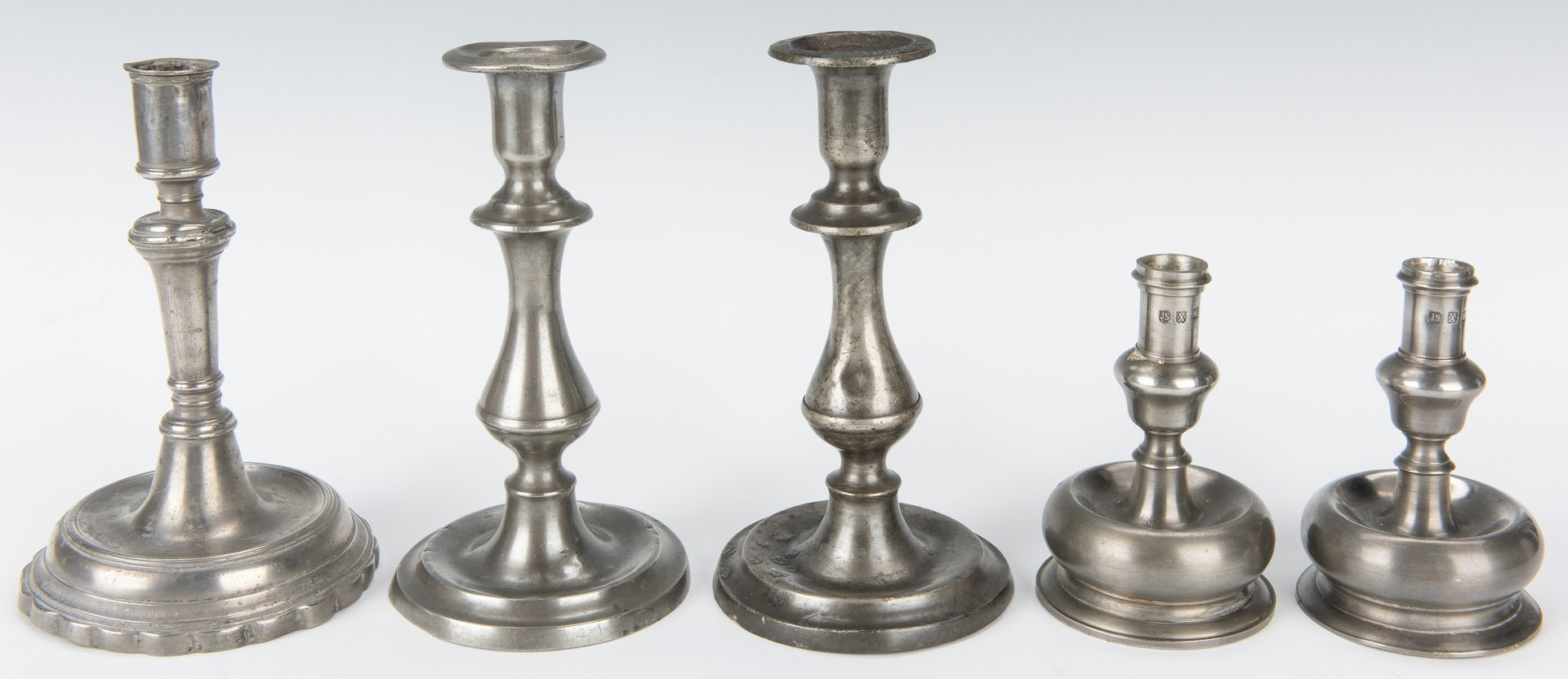 Lot 350: Group of 5 Pewter Candlesticks & 4 Wallpaper Boxes, New England