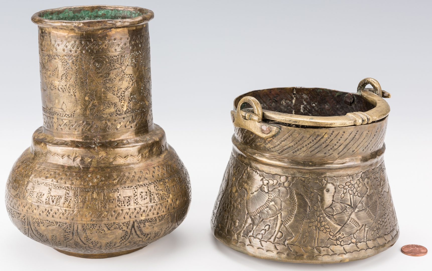 Lot 351: 2 Middle Eastern Brass Items, Vase & Pot