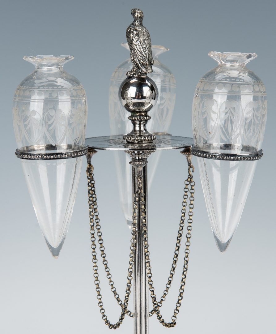 Lot 353: 19th c English Silver/Glass Flower Holder