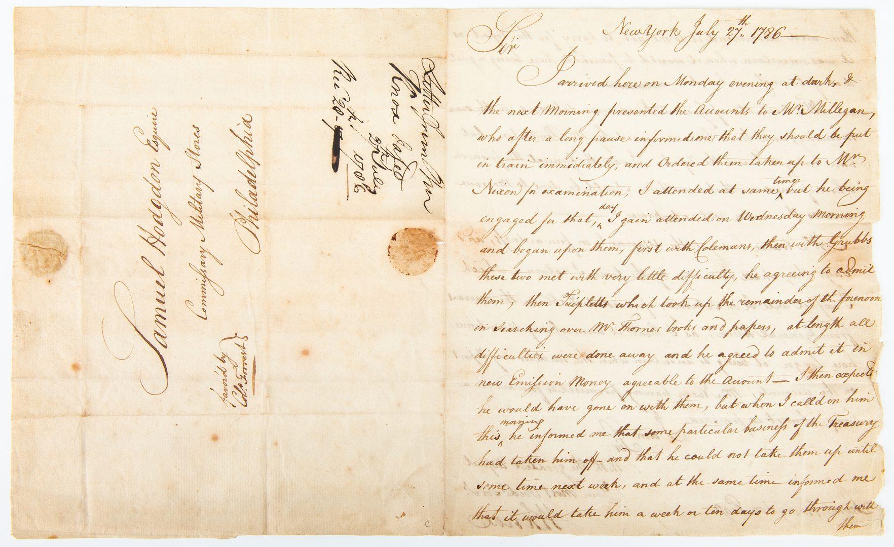 Lot 358: William Knox ALS to Samuel Hodgdson, 1786