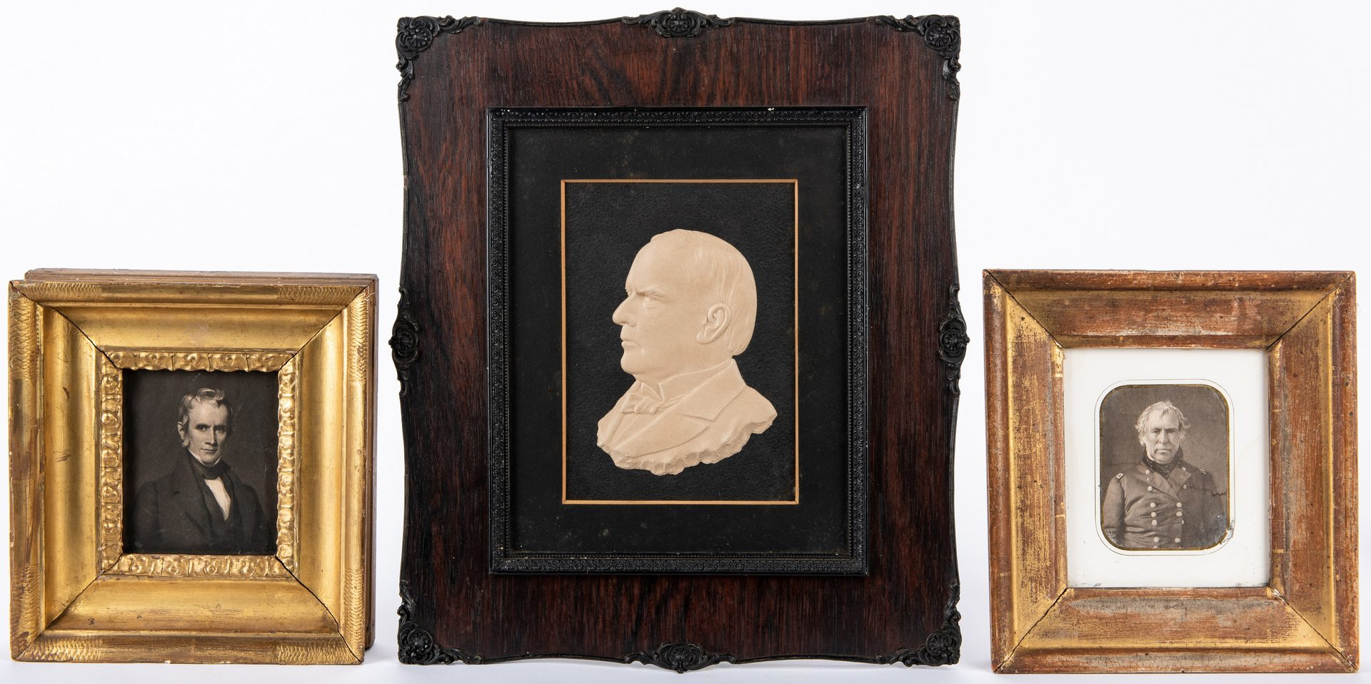 Lot 360: 3 Presidential Items: McKinley bas relief, Taylor & Harrison engravings