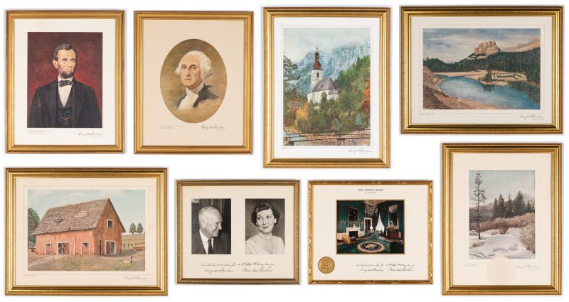 Lot 361: 8 Framed Eisenhower Christmas Prints