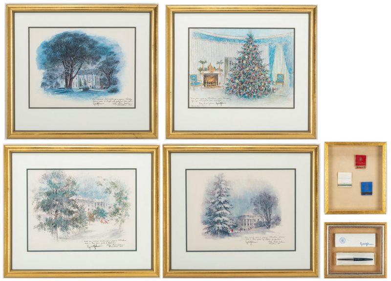 Lot 362: 6 Presidential Items, inc. 4 Lyndon Johnson Christmas Cards