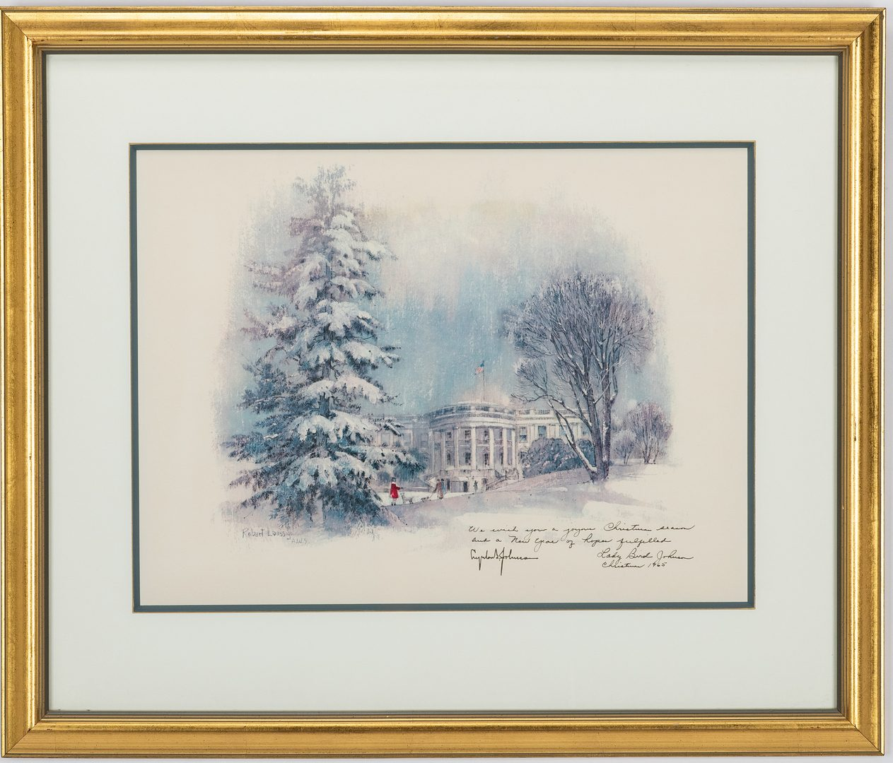 Lot 362: 6 Presidential Items, inc. 4 Lyndon Johnson Christmas Cards