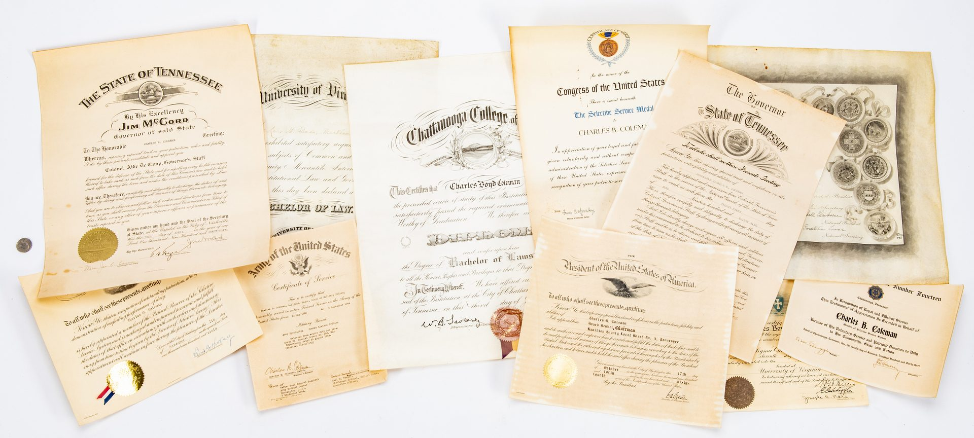 Lot 364: 11 Coleman Family Diplomas/Certificates, inc. UVA, TN Govs.