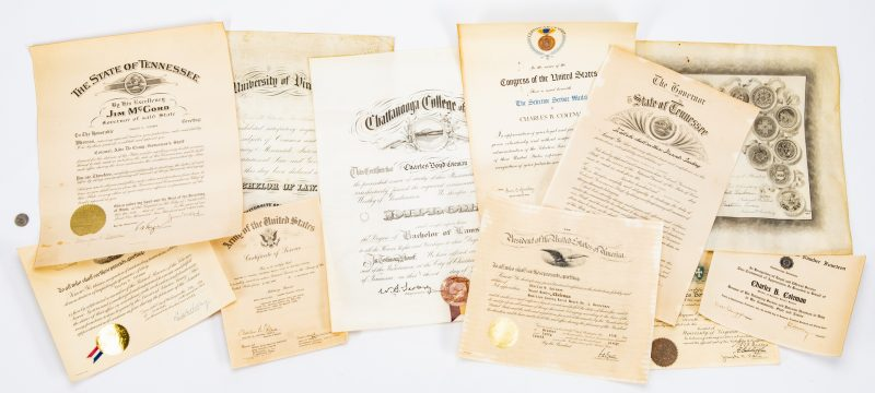 Lot 364: 11 Coleman Family Diplomas/Certificates, inc. UVA, TN Govs.