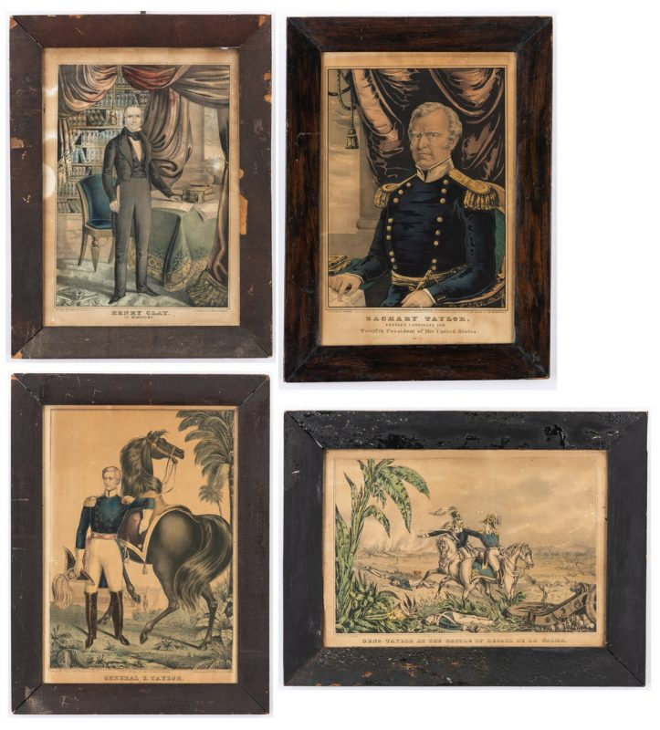 Lot 366: 4 political lithos, inc. Clay, Taylor