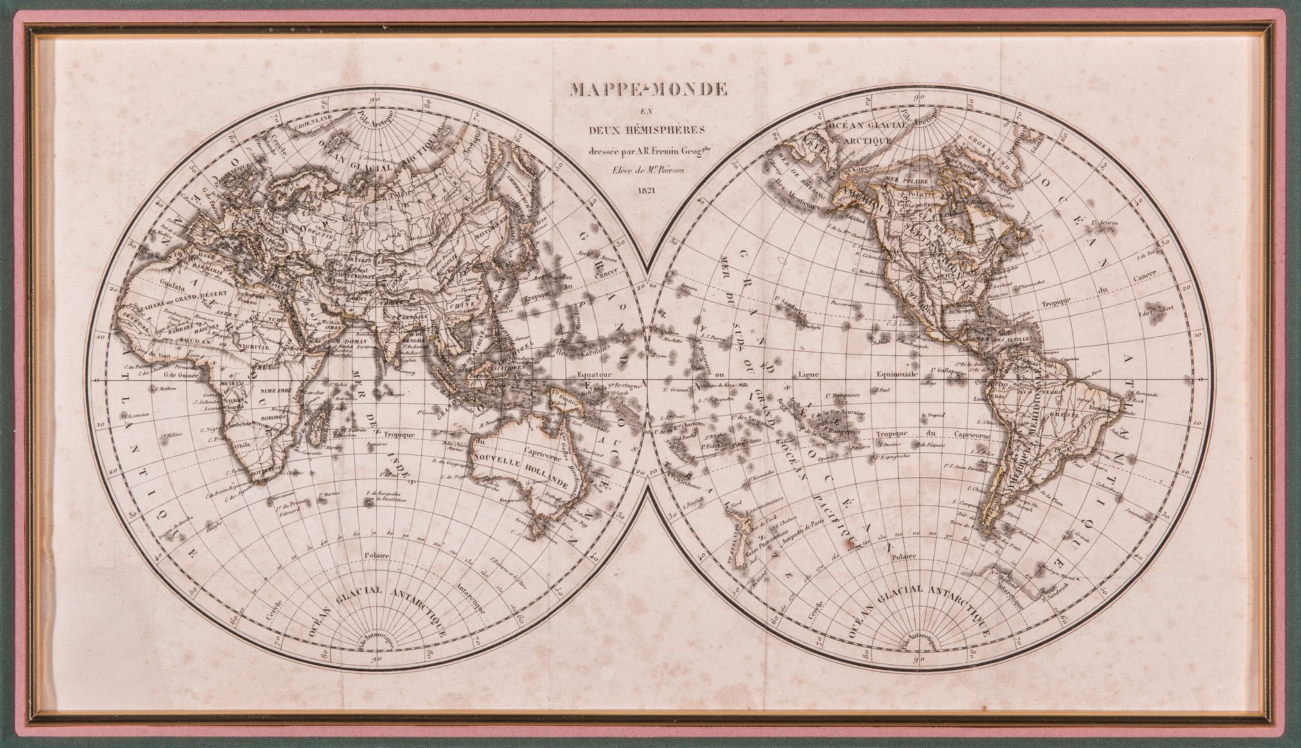 Lot 368: Mappe-Monde en Deux Hemispheres, Poirson/Fremin, 1821