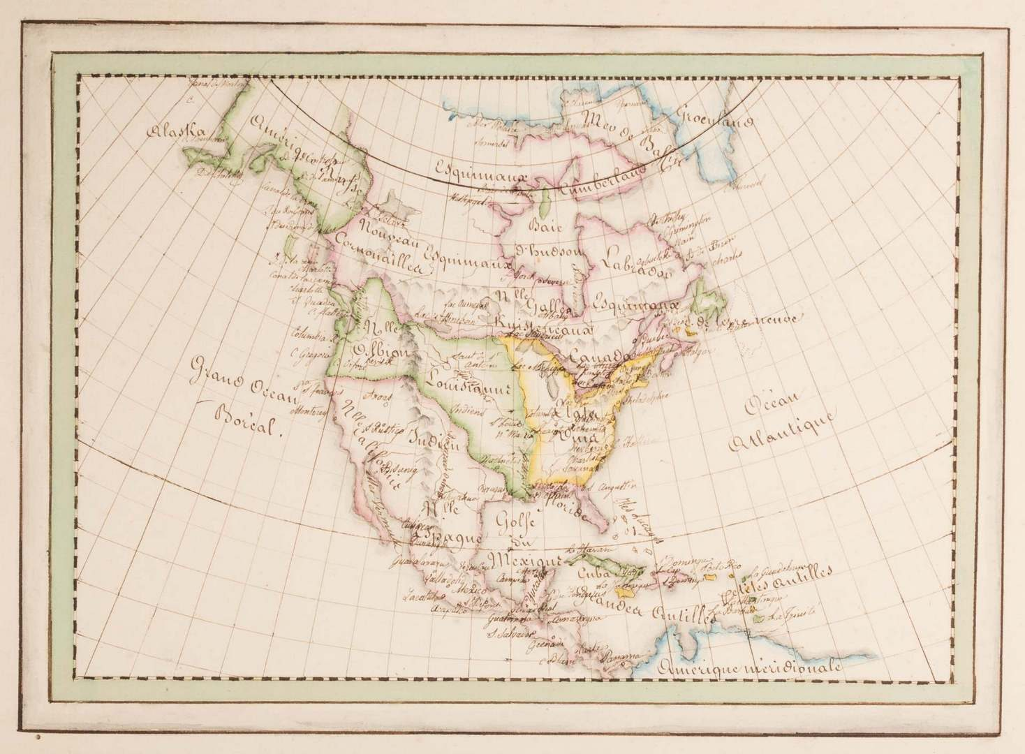 Lot 369: French Hand Drawn and Colored Atlas, Circa 1840