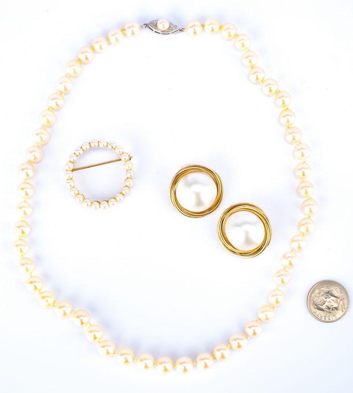 Lot 36: 3 Pcs. of 14K Pearl Jewelry