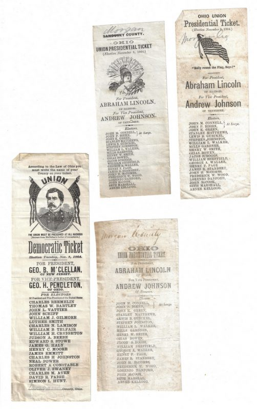 Lot 384: 4 1864 Presidential Ballots, inc. Lincoln