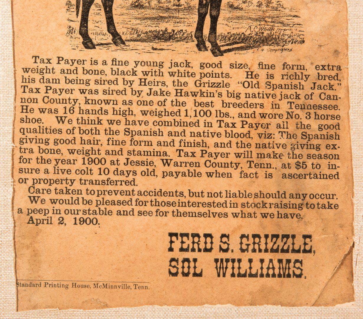 Lot 387: 4 Post Civil War Documents, inc. TN Broadside