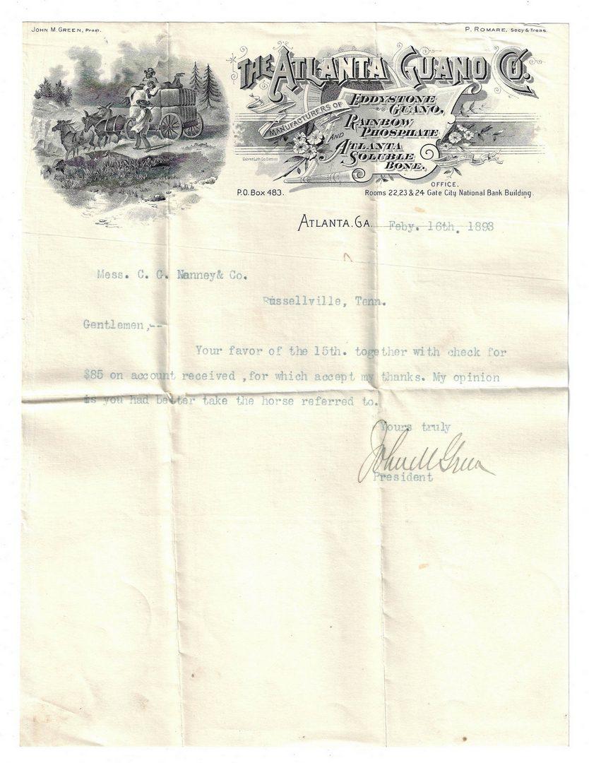 Lot 388: Post Civil War Atlanta, GA/TN Archive, Nenney Family, 12 items