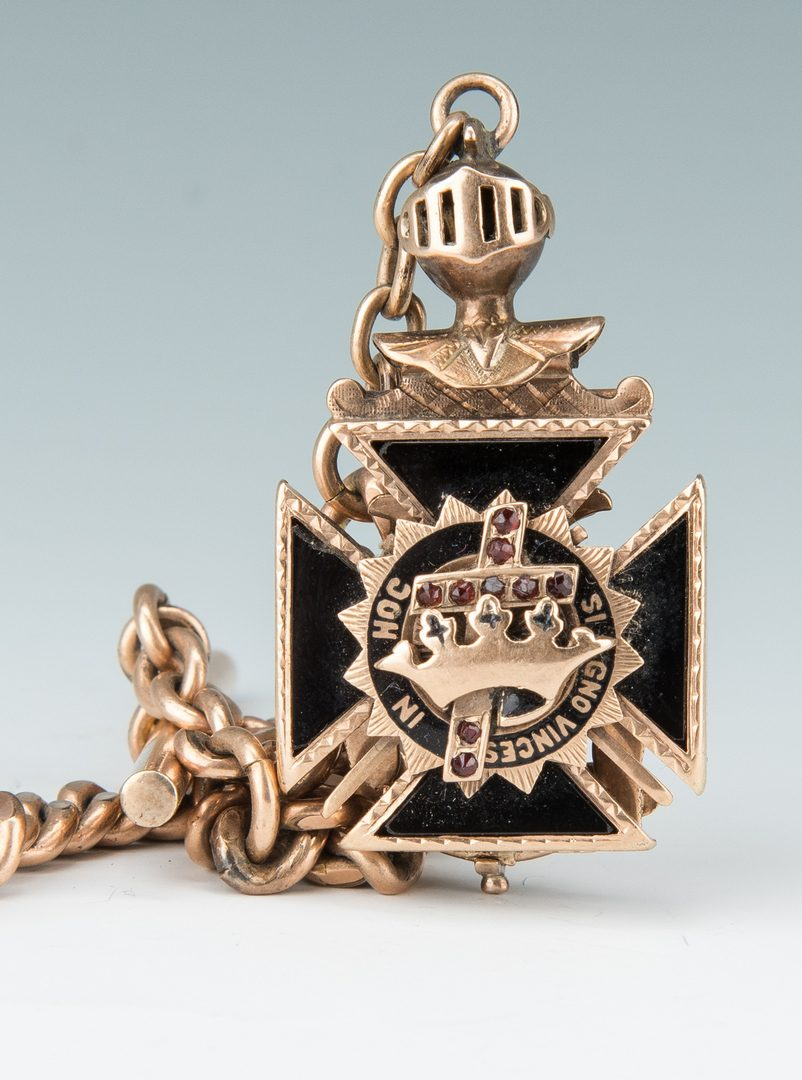 Lot 38: 10K Masonic enamel pendant w/ Elgin pocket watch, 2 items