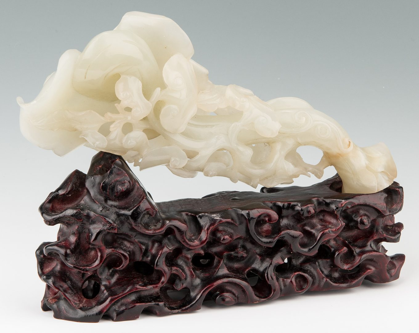Lot 3: Chinese White Jade Sculpture w/ Stand