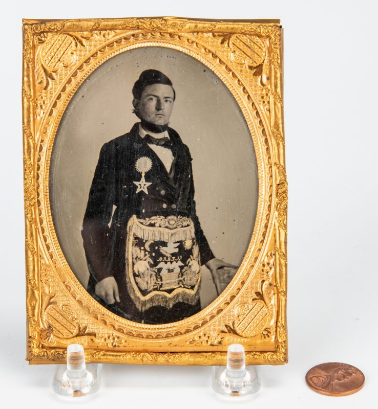 Lot 402: 19th c. Ambrotype of a Mason