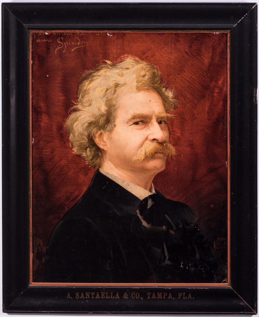 Lot 405: Mark Twain Advertising Chromolithograph, Santaella frame