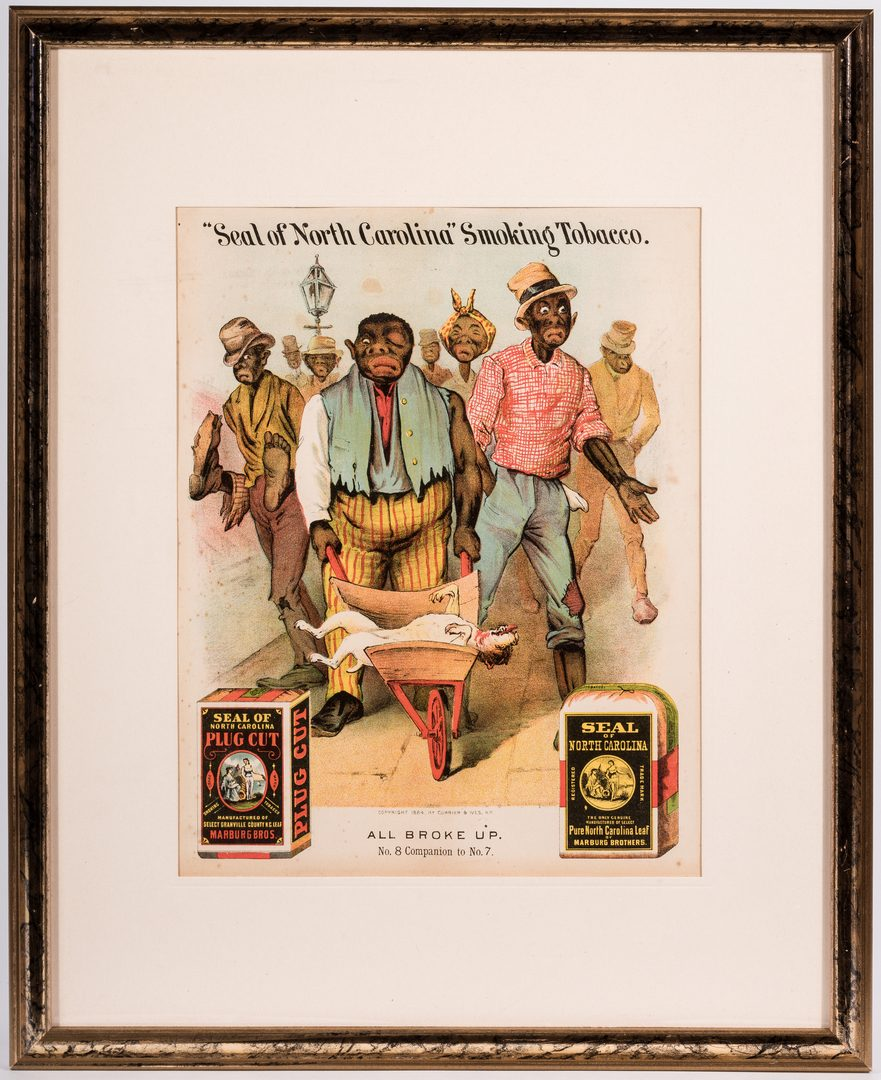 Lot 408: Seal of NC Smoking Tobacco Black Americana Advertising Lithograph