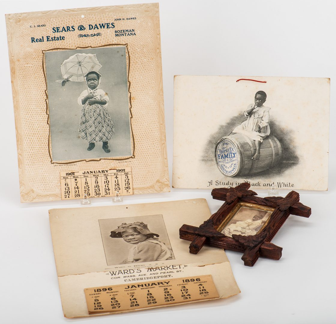 Lot 412: 3 Black Americana Advertising Items & 1 CDV