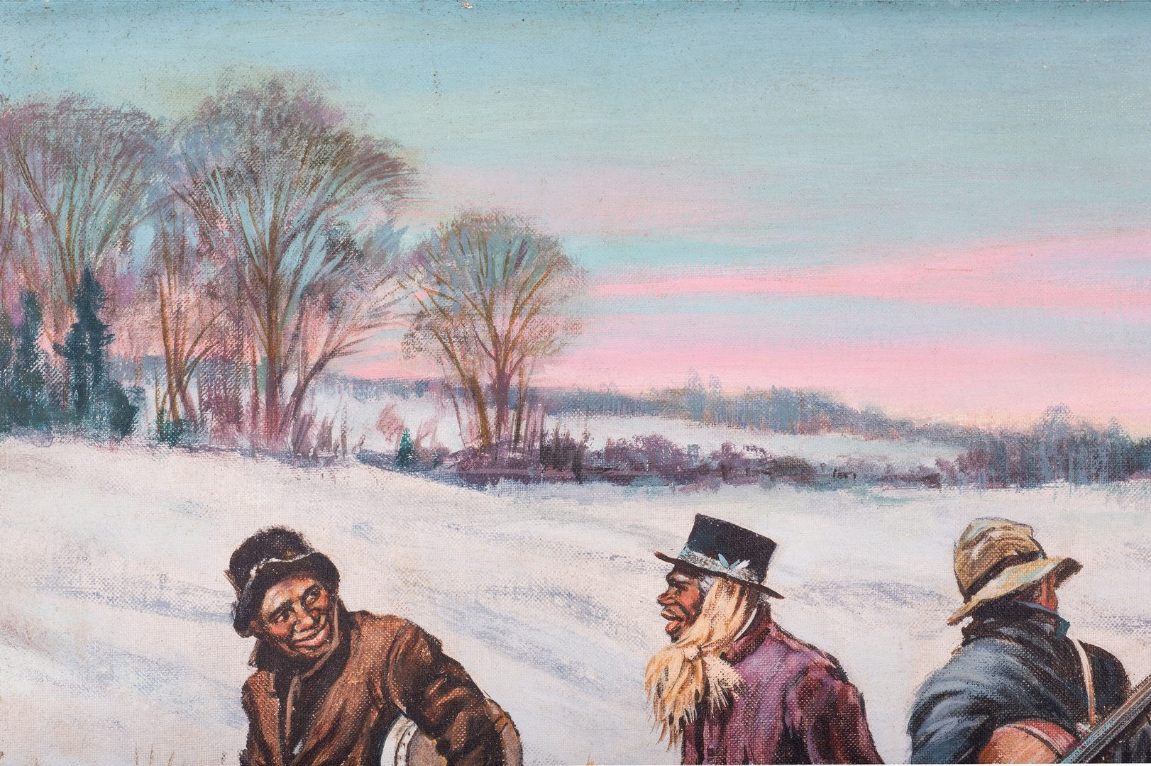 Lot 413: Oil on Board Painting of Black Minstrels